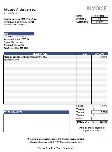 Invoice Template Open Office   Invoice Template For Easier Use