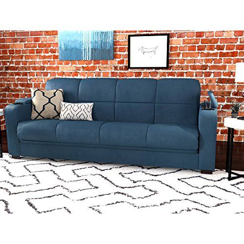 Sofa Coach Luxurious Sleeper Bed Futon Microfiber Storage Arm Convertible Full Size Living Room Furniture With Cup Holder Multiple Colors Blue