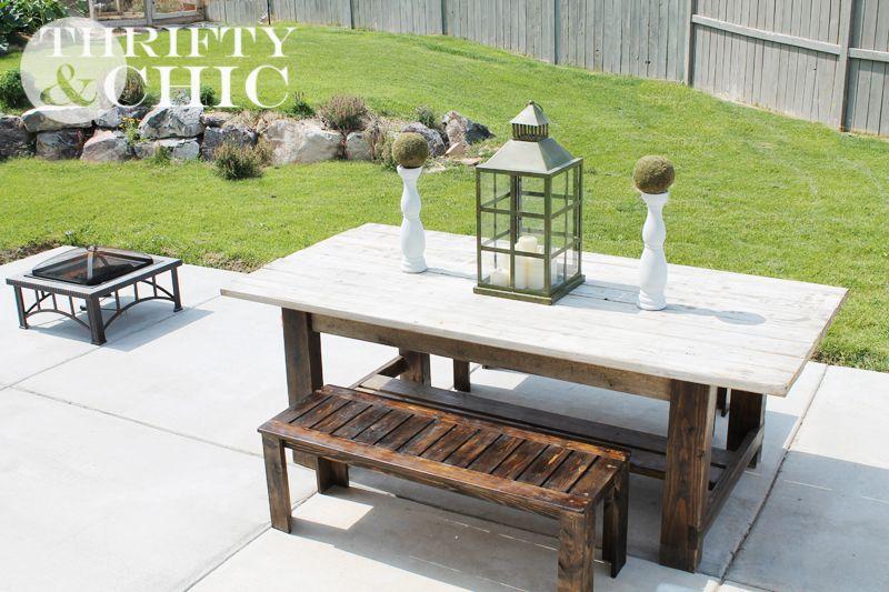 diy outdoor farmhouse table. DIY Outdoor Bench Plans Diy Farmhouse Table F