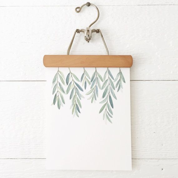 Olive Branches Print  Olive Branch Leaves by FoxHollowDesignCo