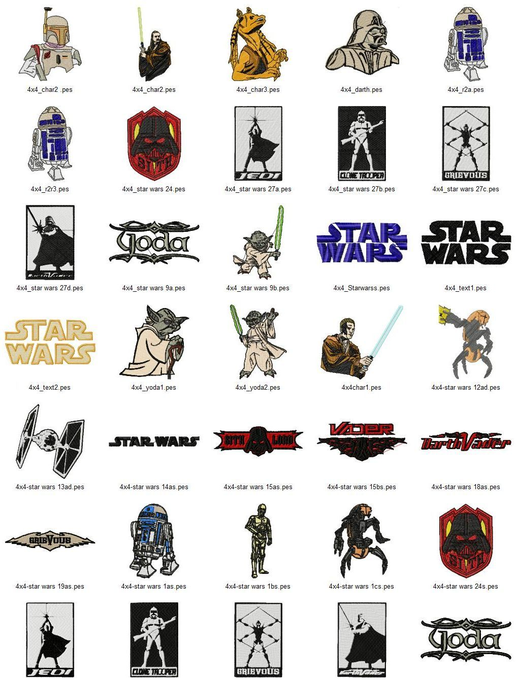 Star wars text art embroidery designs set 2 sizes embroidery star wars embroidery designs set this design set includes 57 different designs in 2 sizes that will fit both and hoops bankloansurffo Gallery