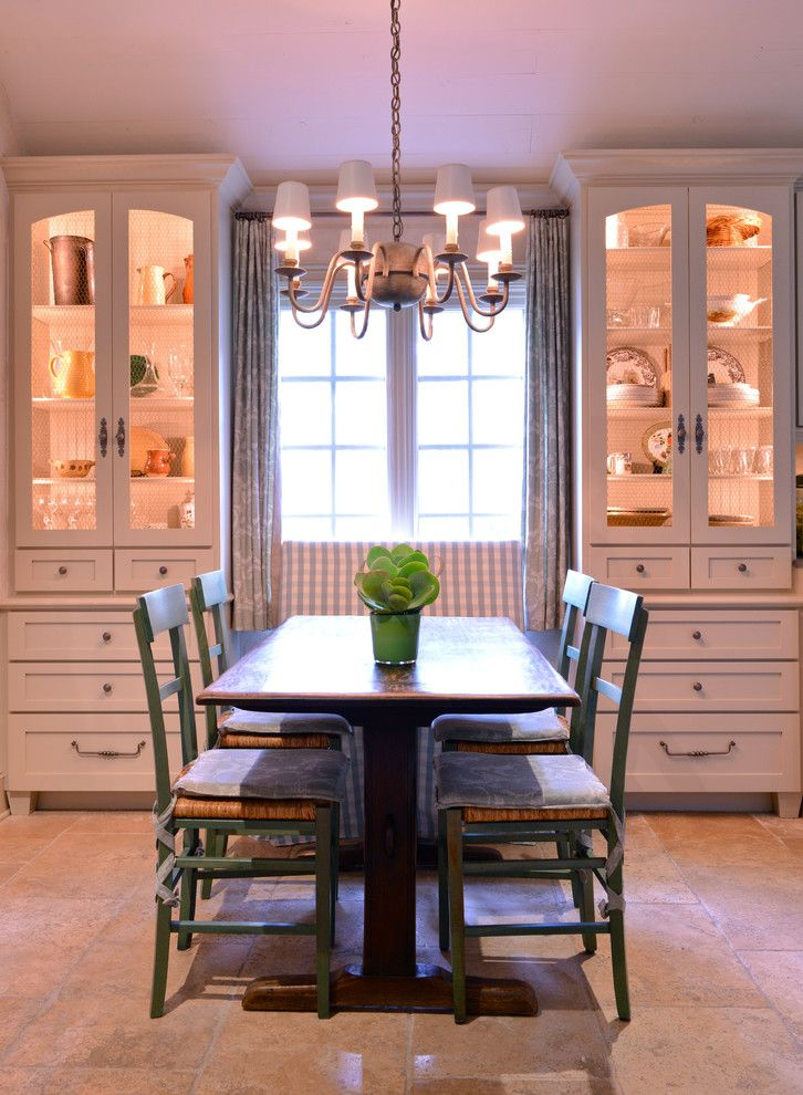 farmhouse dining room white built in corner cabinets with warm lighted  inner space silver draperies classic. farmhouse dining room white built in corner cabinets with warm