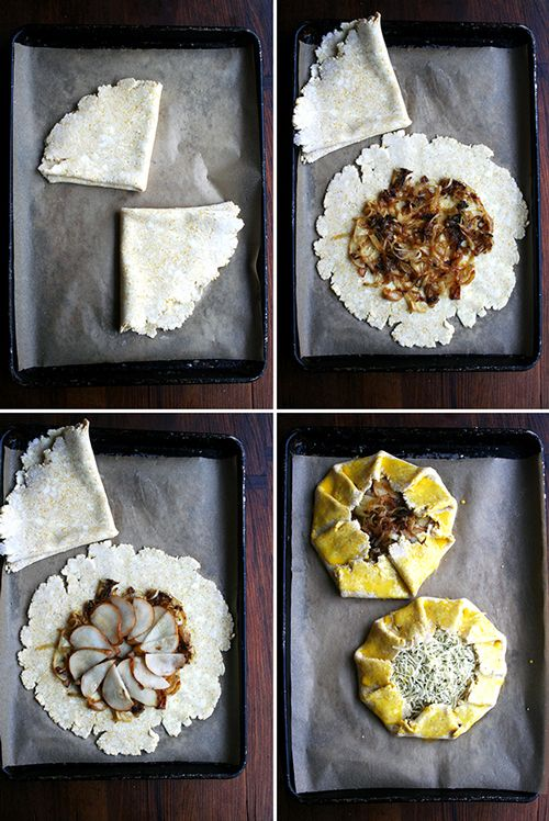 Caremelised r-onion, pear and cheese galette - Should be pretty easy to adapt for many different ingredients... must try soon!