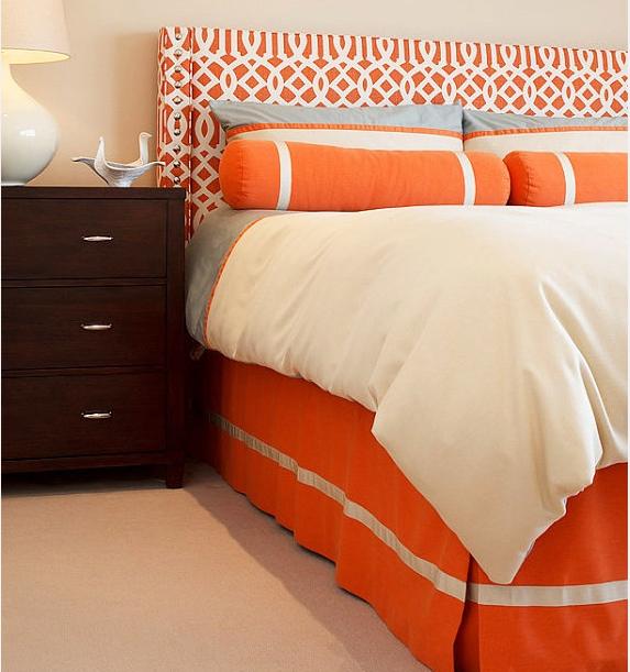 Nice Headboard + Orange Bedroom