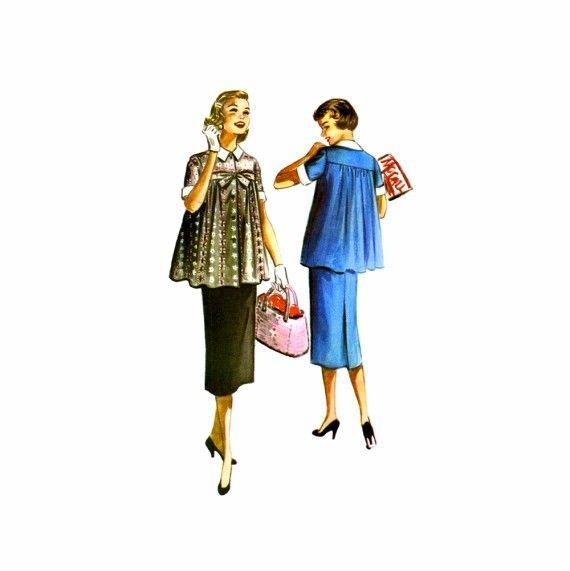 1950s Maternity Smock Top Skirt Dress McCalls 3516 Vintage Sewing ...