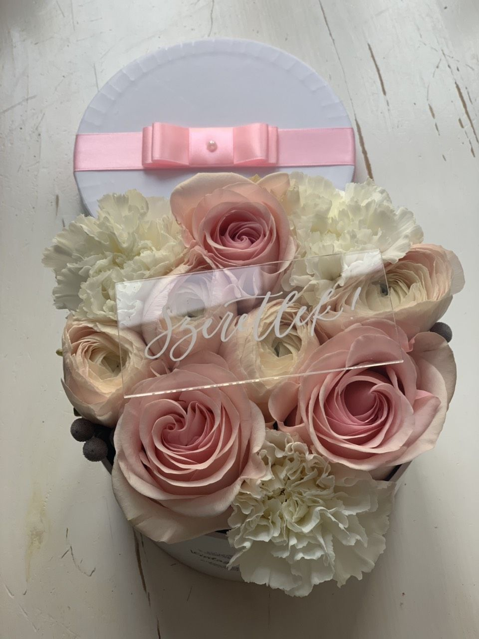 Flower box with i love you sign flower box with an i