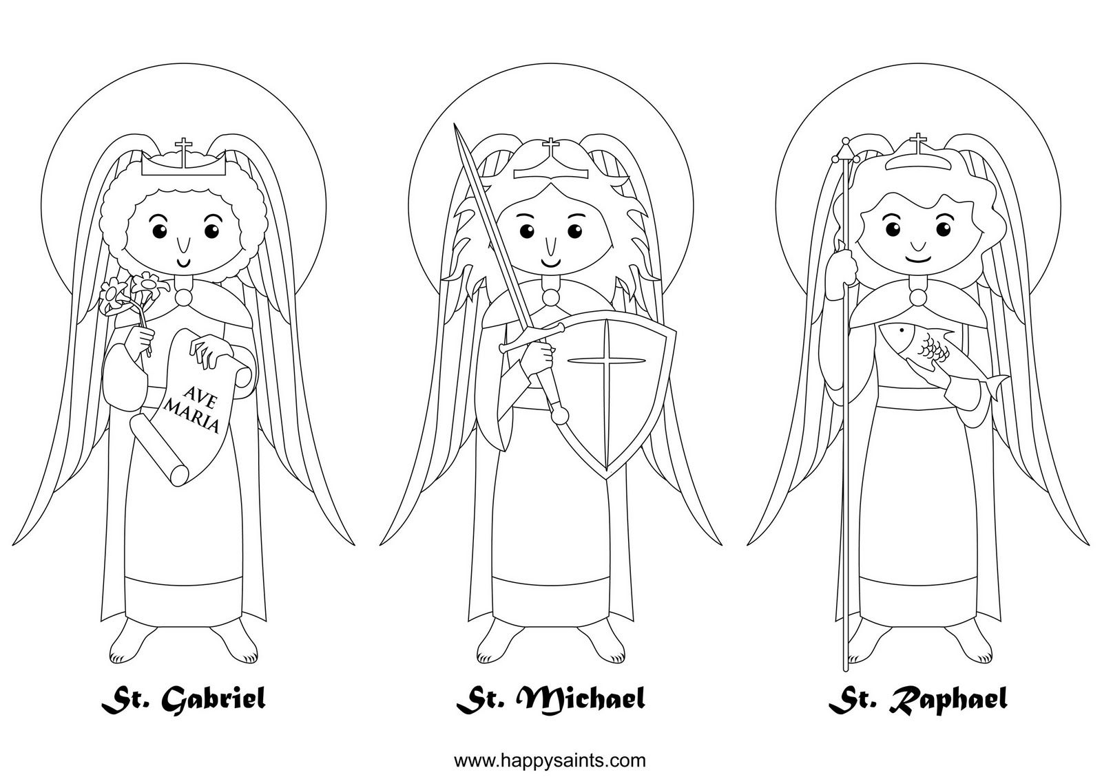 Happy Saints Archangels Catholic Coloring Page Feast Day