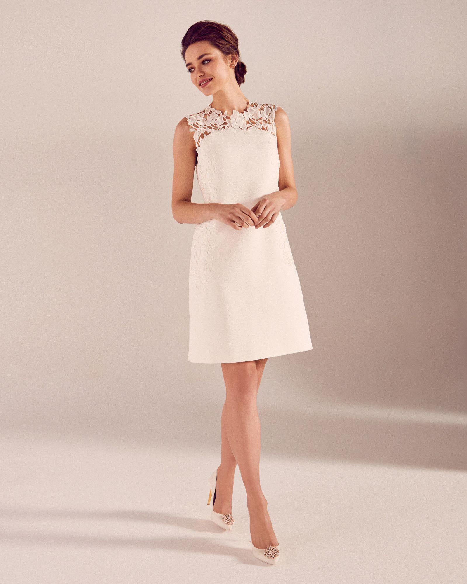 Embroidered Lace Shift Dress White Dresses Ted Baker Weisses Spitzenkleid Etuikleid Weisses Kleid