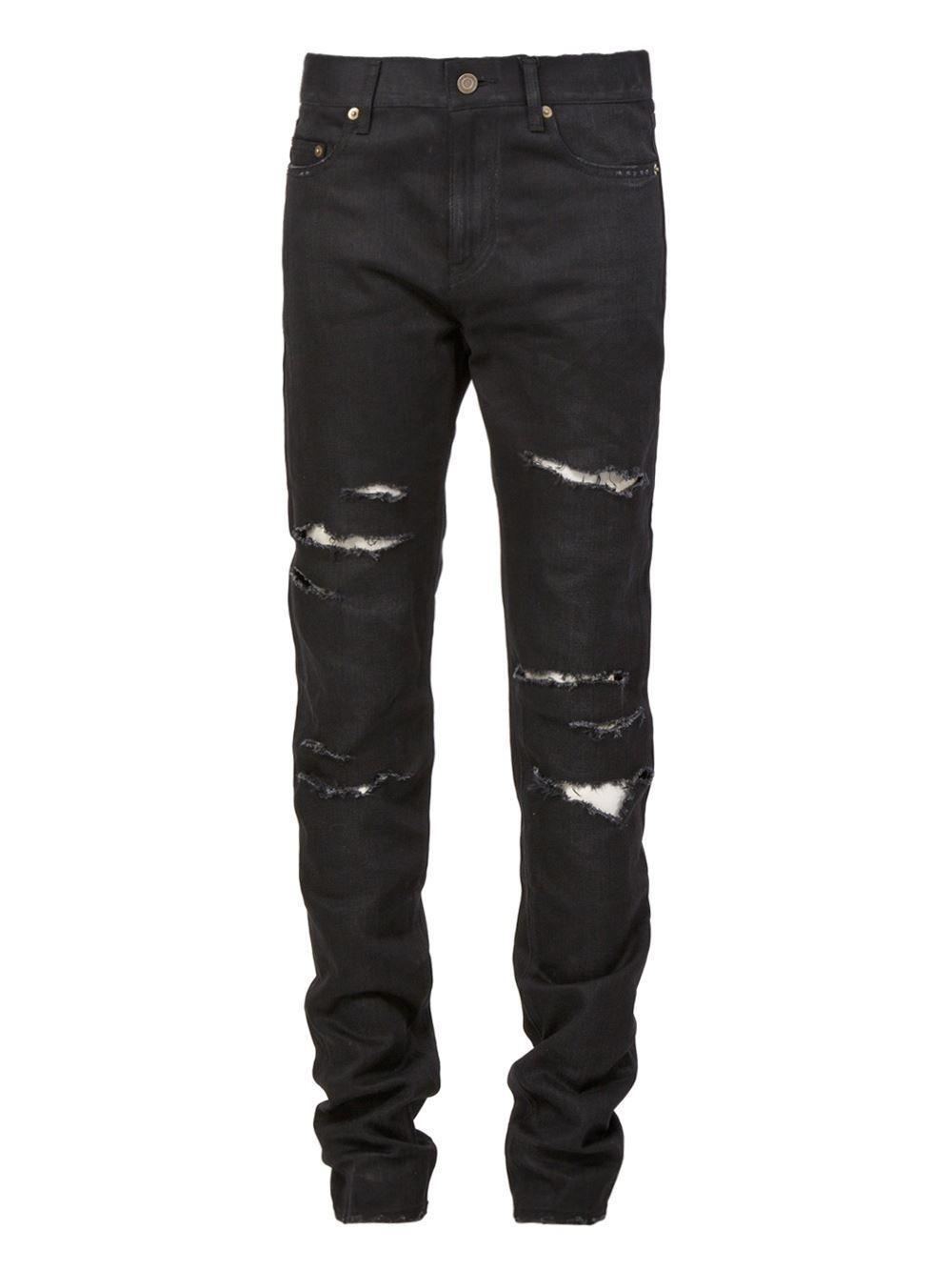 new concept 40ab3 39e4a Saint Laurent torn jeans Compras, Pantalones, Vaqueros Negros Hombre,  Pantalones Rasgados De Hombre
