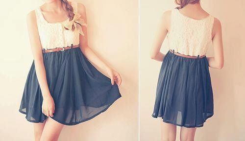Dark blue flowy skirt.