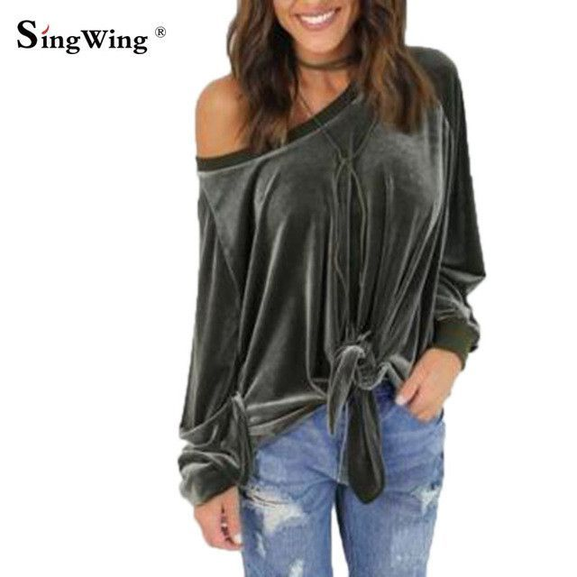 35dce5700c2 Women velvet Long Sleeve T-shirts sexy Loose bow Shirts Tops O-neck Solid