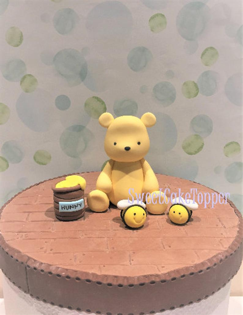 Photo of Classic Winnie the Pooh Inspired  Fondant Cake Topper – Handmade Edible Cake Topper – 1 Set
