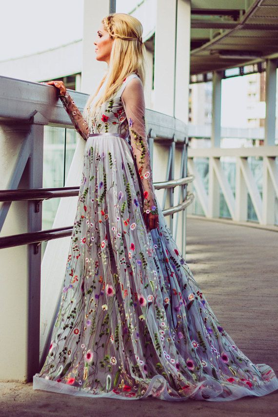 Flower Wedding Dress In Gray Color Wedding Dress With Etsy Prom Dresses Lace Long Gown For Wedding Floral Wedding Dress