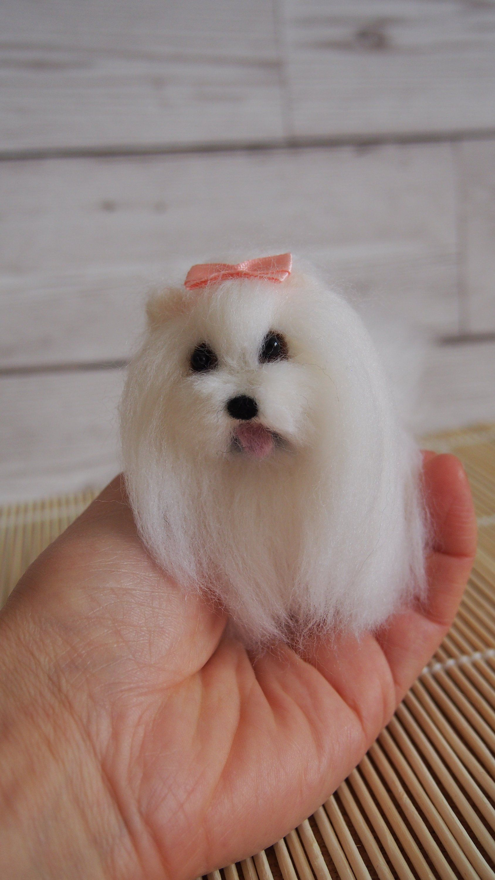 Maltese Dog Decoration Felted Puppy Wool Maltese Dog Felt Dog