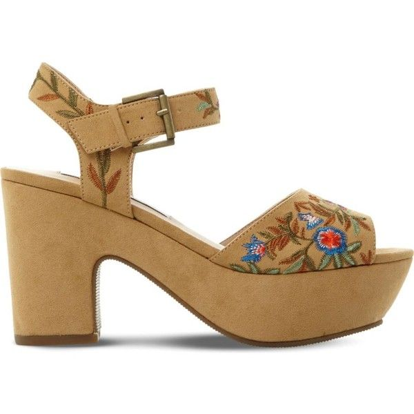 Steve Madden Bonnie embroidered platform sandals ($97) ❤ liked on Polyvore  featuring shoes,