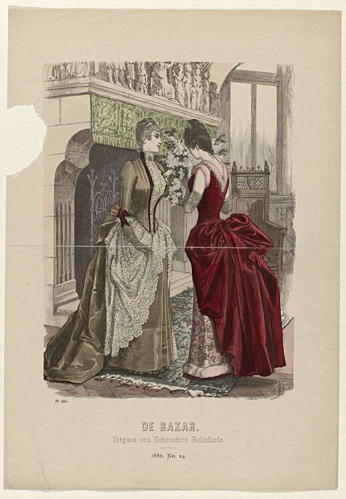 Anonymous   De Bazar, 1886, Nr. 24, Pl. 666, Anonymous, Gebroeders Belinfante, 1886   Prent uit het modetijdschrift De Bazar, geïllustreerd Tijdschrift voor Modes en Handwerken (1857-1900).