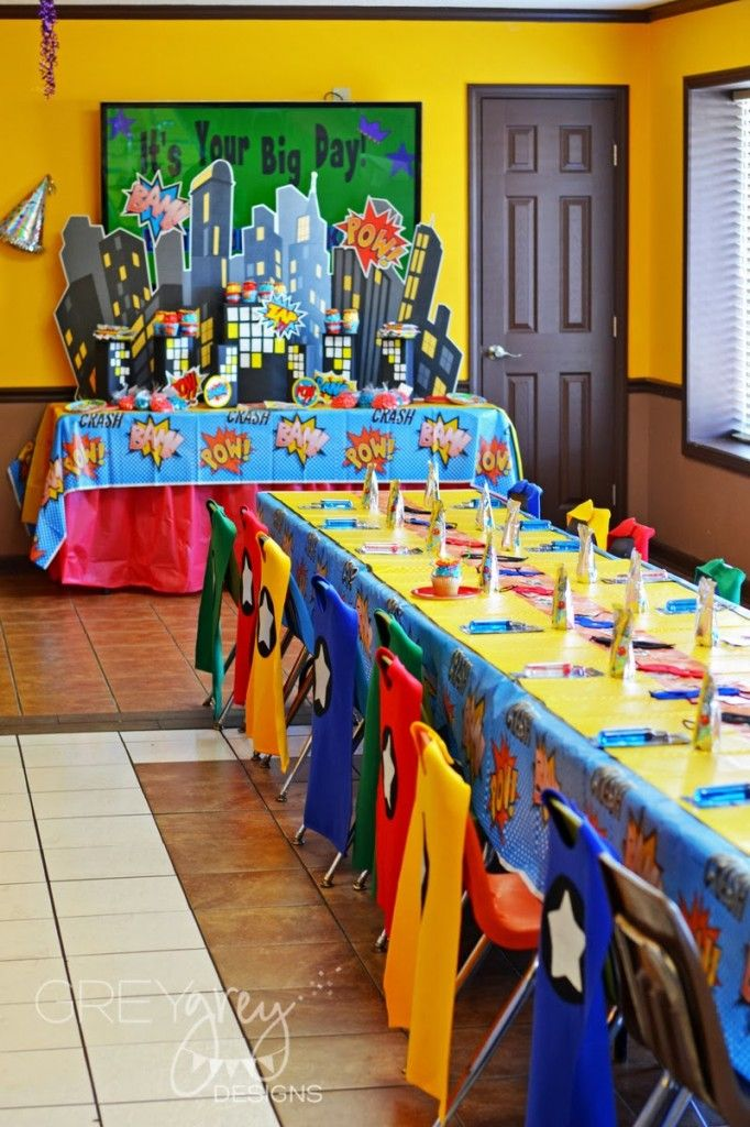 Classroom Decor Superhero ~ Superhero birthday party ideas table setting little capes