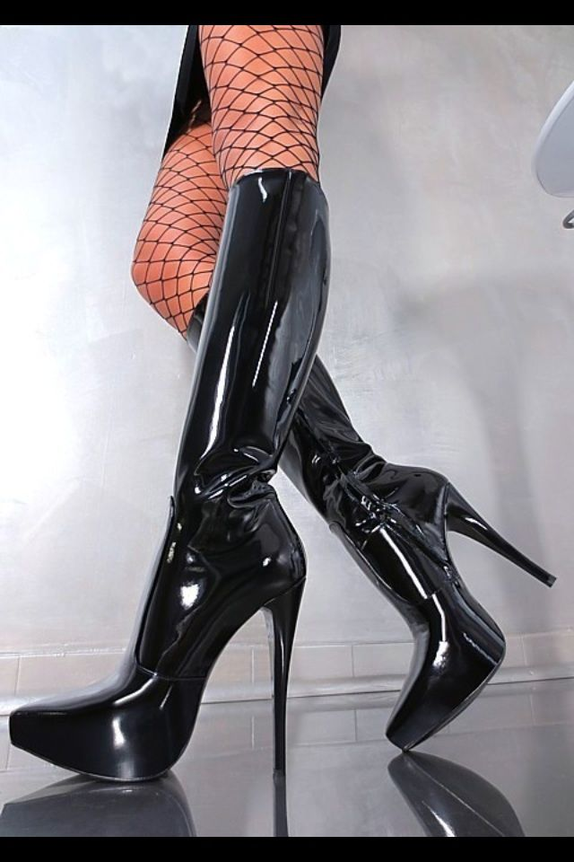 black patent leather boots high heels