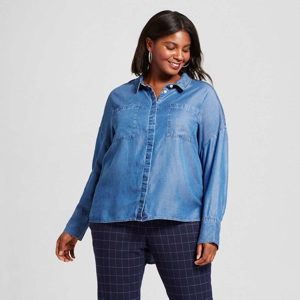 Womenus plus size relaxed tencel button down a new day medium
