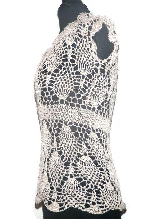 Lace crochet pineapple top, summer crochet blouse | Blusas cortas ...