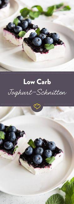 low carb joghurt schnitten mit blaubeeren rezept foooooooodddddd pinterest dessert. Black Bedroom Furniture Sets. Home Design Ideas