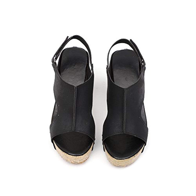 e3e83f37ba2784 Women Sandals Summer Round Toe Breathable Rivet Beach Boho Shoe Casual  Wedges Shoes (US 9