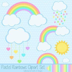 Pastel Arco Iris Conjunto De Imagenes Predisenadas Arco Rainbow