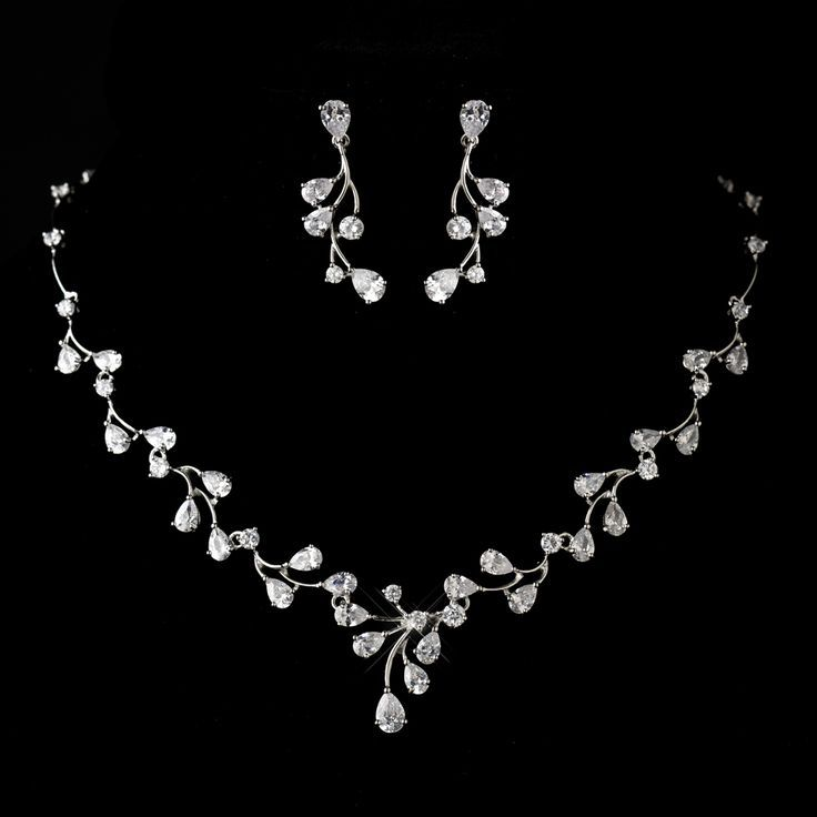 Antique Silver Rhodium Clear CZ Crystal Wedding Jewelry Set