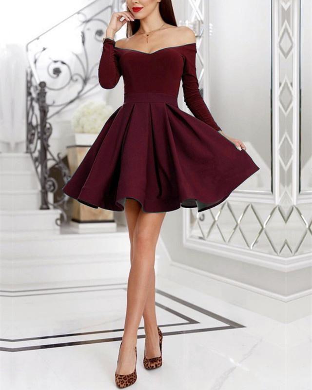 c13ea7e02a3 Cute A-line Satin Ruffles Hem Dresses Featuring Off shoulder Neckline With  Long Sleeves Velvet
