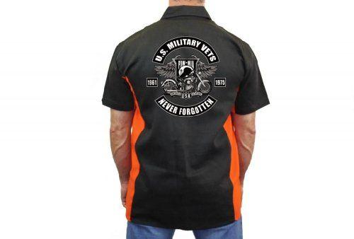 """Biker Mechanic Work Shirt """"Military Vets POW Never Forgotten"""" (XL) http://bikeraa.com/biker-mechanic-work-shirt-military-vets-pow-never-forgotten-xl/"""