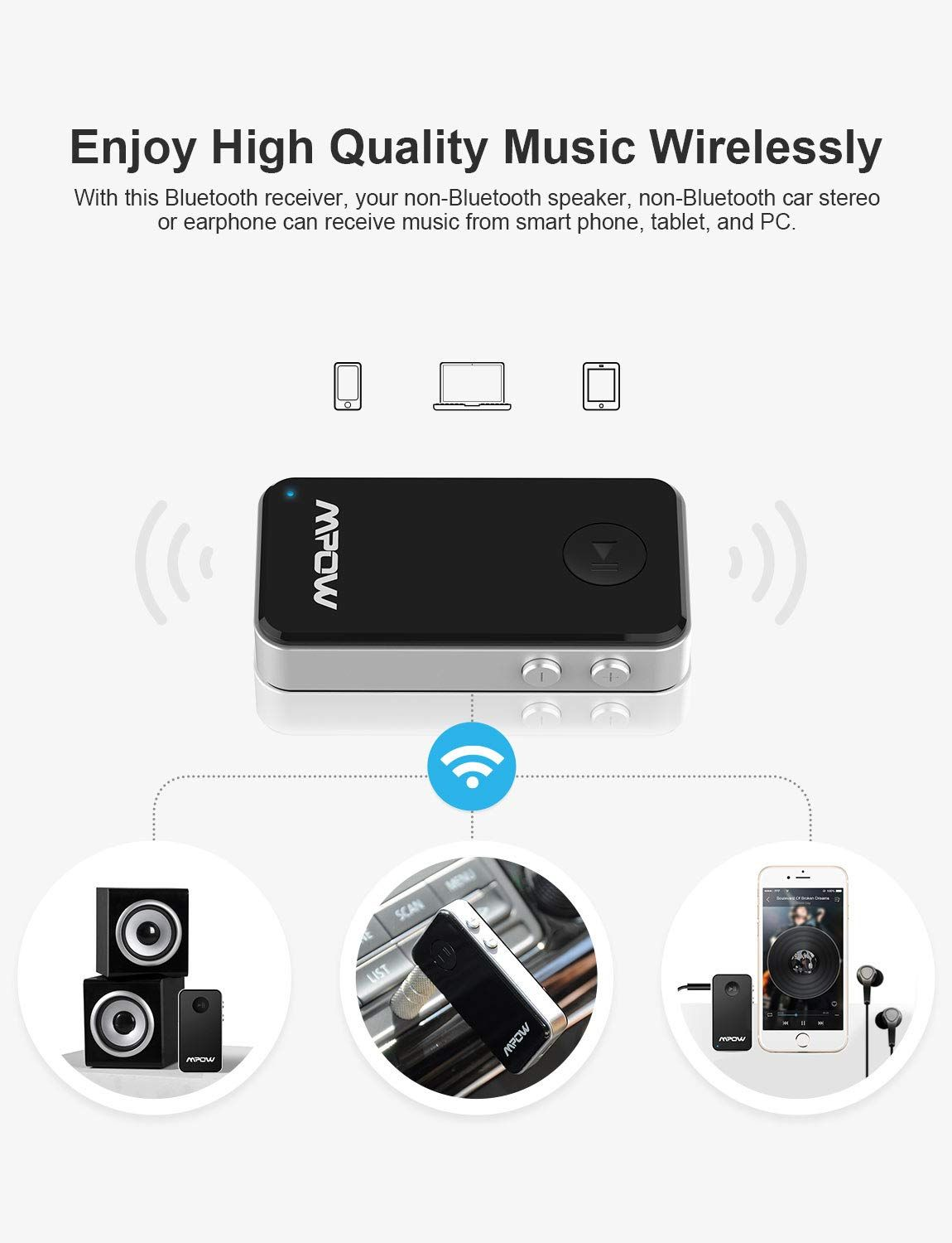 Wireless Receiver Streambot Hands-Free /& Wireless Car Kits for Home//Car Audio Stereo System