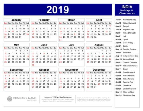 India Calendar 2019 2019 Calendar with Indian Holidays Pdf | jjj | Holiday calendar