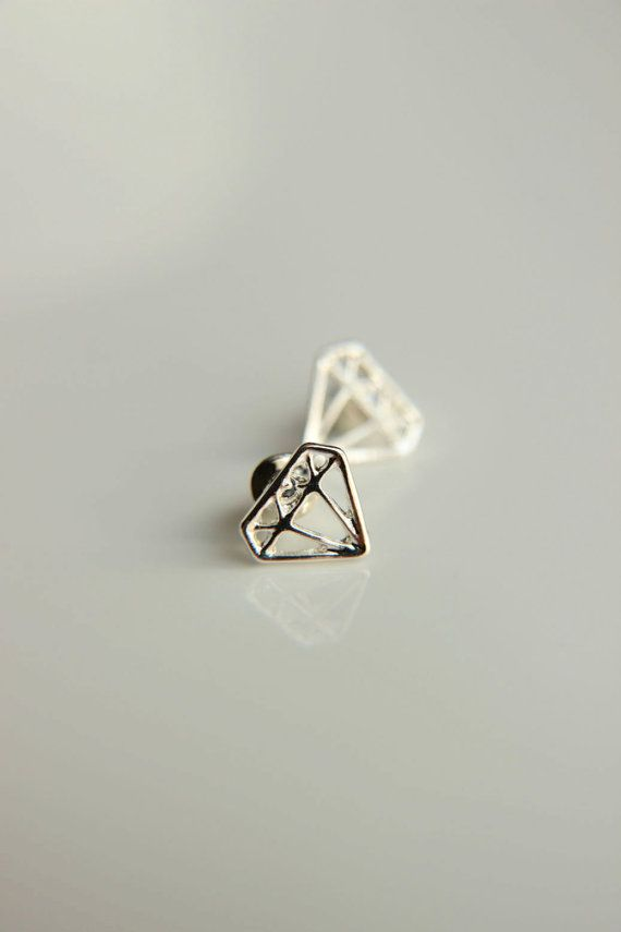 shaped diamond sterling earrings stud amorium silver