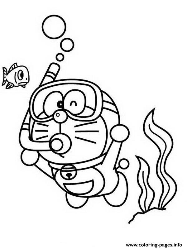 Print Doraemon Diving 25f6 Coloring Pages Cartoon Coloring Pages Doraemon Coloring Books