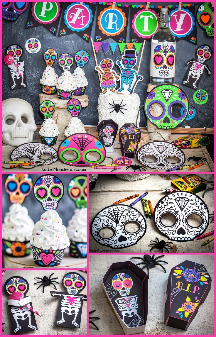 Punk Sugar Skull Day Of The Dead Party Printable Decor Kit Dia De