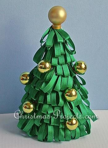 Ribbon Tree On Styrofoam Cone Christmas Craft How To