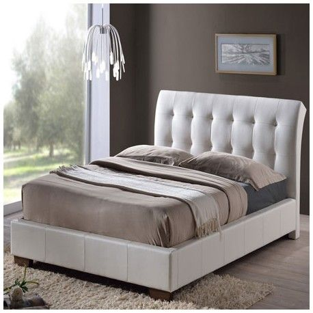 Boston 4ft6 Double White Faux Leather Bed Beds Leather Furniture Upholstered Bed Frame Contemporary Bedroom Furniture Leather Bed Frame