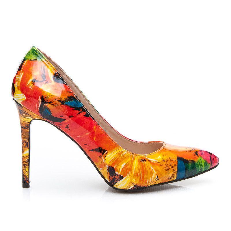 Szpilki Red Floral Stylowe Obcasy Heels Kitten Heels Shoes