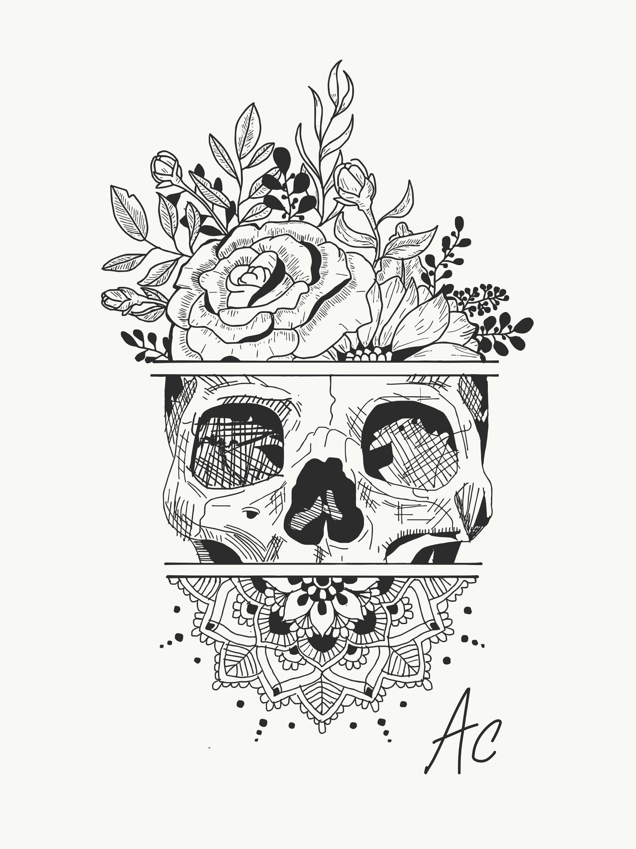 Creating tattoo idea skull flowers mandala