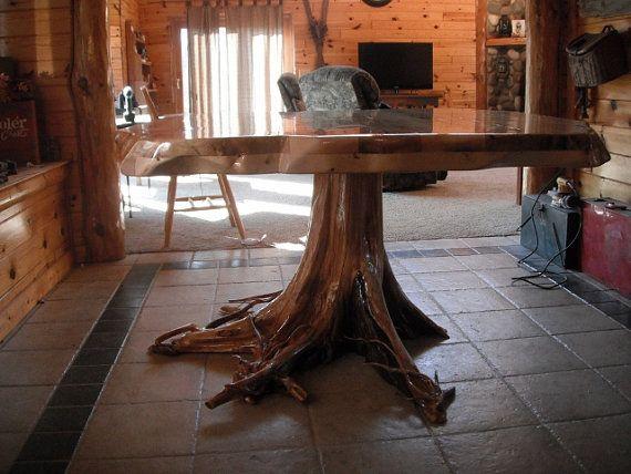 Cedar Stump Dining Table Rustic Wood Furniture Cedar Furniture