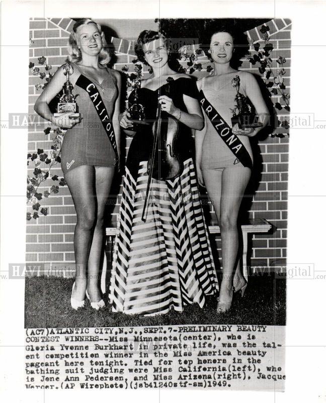 1949 Miss America Pageant Press Photo Atlantic City N J Sept 7 Preliminary Beauty Contest Winners Miss Minnesota Center Beauty Pageant Miss America Miss California