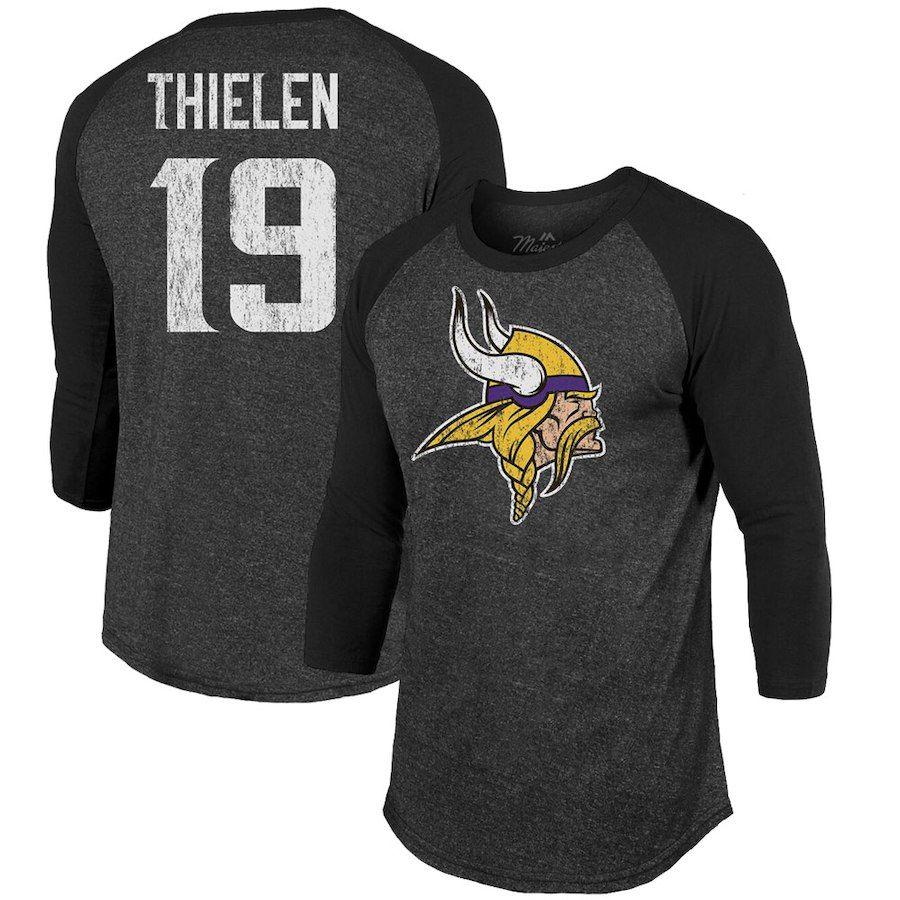 394ddd09e Men s Minnesota Vikings Adam Thielen Majestic Threads Black Player Name    Number Tri-Blend 3 4-Sleeve Raglan T-Shirt