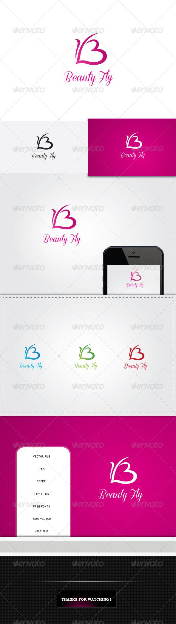 B Letter Butterfly Love Logo - Nature Logo Templates   graphics ...