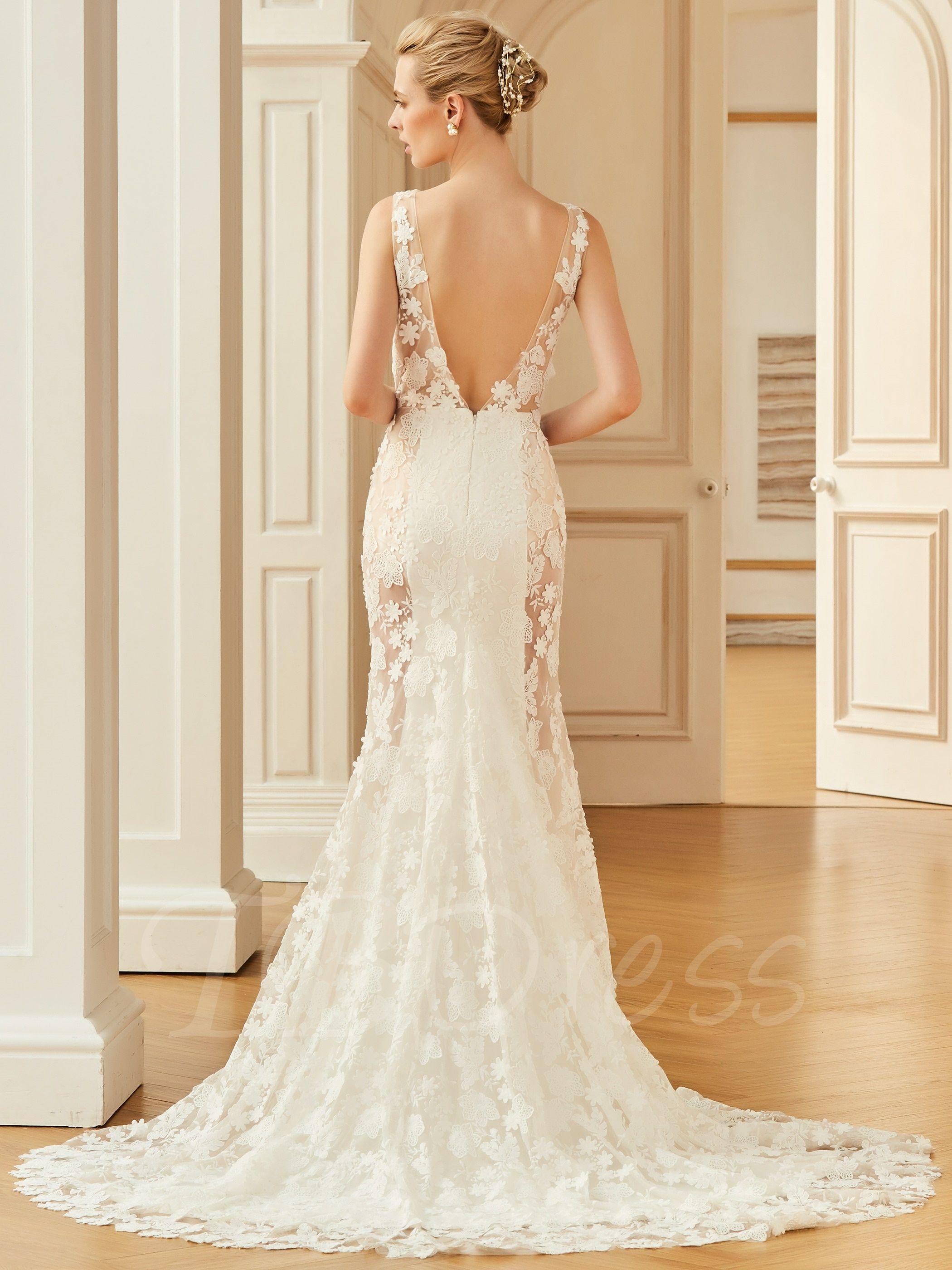Backless lace court train mermaid wedding dress mermaid wedding