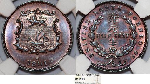 World Coins - British North Borneo. AE 1/2 Cent 1891 H. NGC MS65 RB!