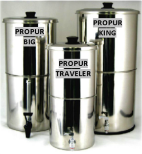 The Propur KING stainless steel water purification system is ideal for medium-large size groups of 4 or more people, whether at home, office, on vacation, camping or for students at a  college dorm!