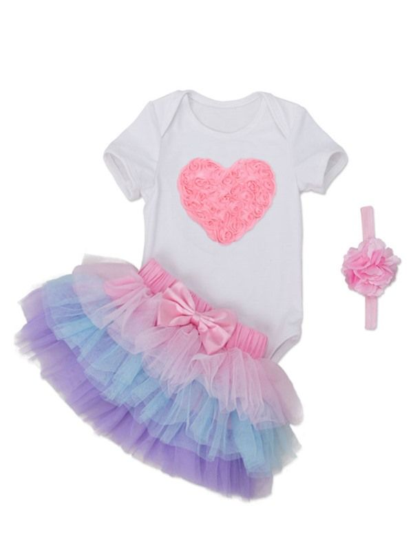 9b2aa3d74 Love T-Shirt Layered Skirt with headband 3-Pcs Girls Outfit