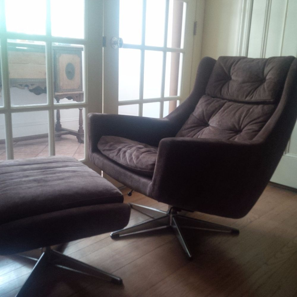 1950s, MidCentury Modern, chair & ottoman, suede, swivel
