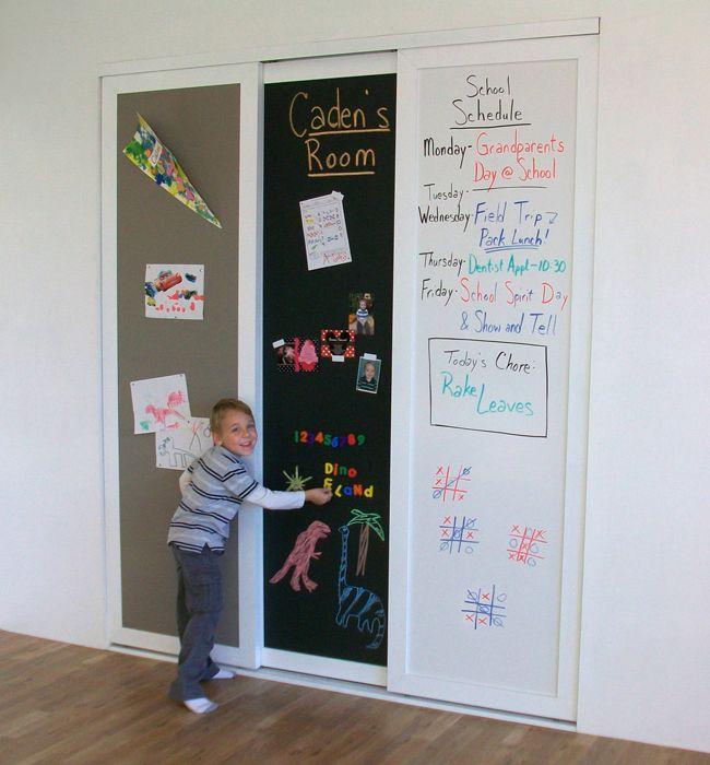 chalkboard dry erase corkboard sliding closet doors