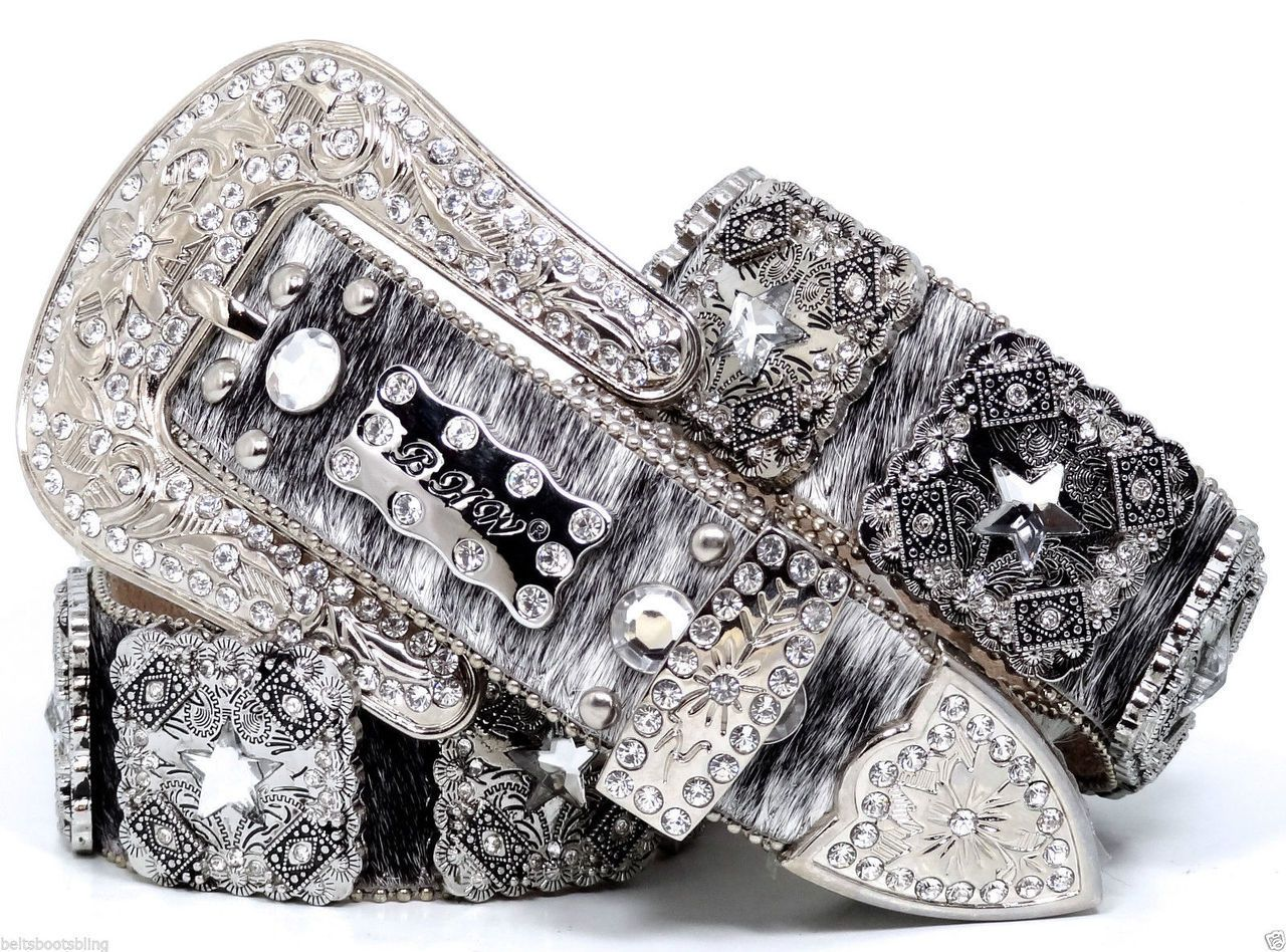 BHW Cowgirl Western Brindle Clear Prism Cut Star Concho Leather Belt - BeltsBootsBling.com